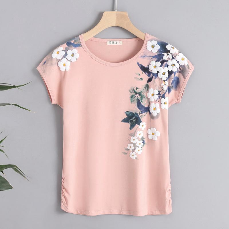 2019新款純棉短袖T恤女寬松大碼半袖體桖中年媽媽夏裝洋氣上衣服