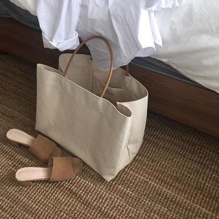 2019韩国东大门同款简约大容量帆布包ins爆款购物包手提包女大包