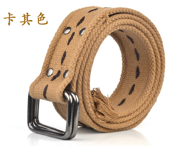 T / C woven double buckle canvas belt mens and womens general tactical tooling belt