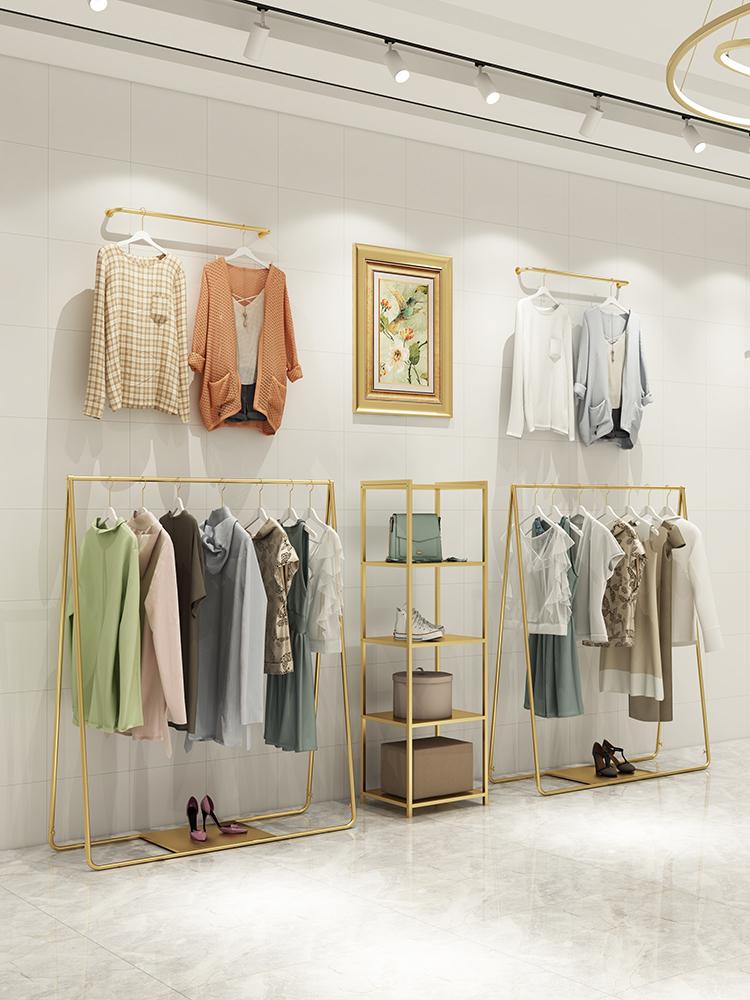 服装店女装落地式金色货架子展示架11月25日最新优惠