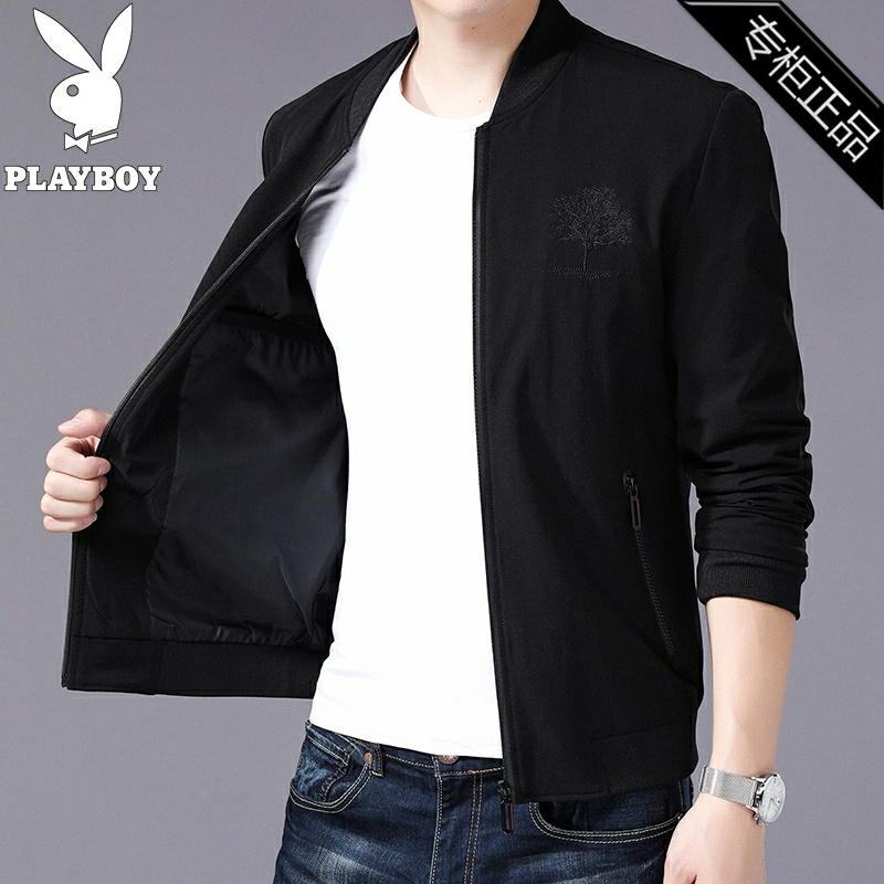 Counter brand spring business casual coat solid color long sleeve mens wear mens wear Korean thin collar jacket
