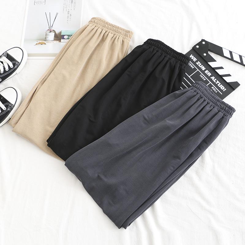 大码女装铜氨丝顺滑垂感哈伦裤2020春装新胖mm高腰束口宽松灯笼裤图片