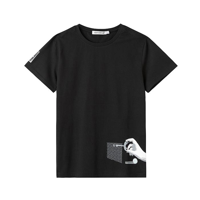 JL日常常规流行夏季青春男士短袖T恤圆领侧缝印花打底衫JL009