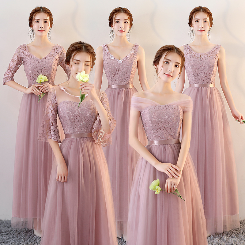 Bridesmaid Dresses long 2017 new autumn  winter Bridesmaids Dress grey slim skirt thin dress sisters graduated from the