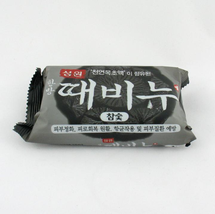 韩国进口正品 韩方木炭竹炭去灰皂 洗澡不用搓 去油去汗 150g
