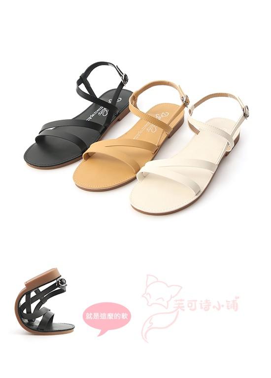 台湾直发D+AF. 午後漫步.斜帶繞踝超軟平底涼鞋时尚经典女鞋简约