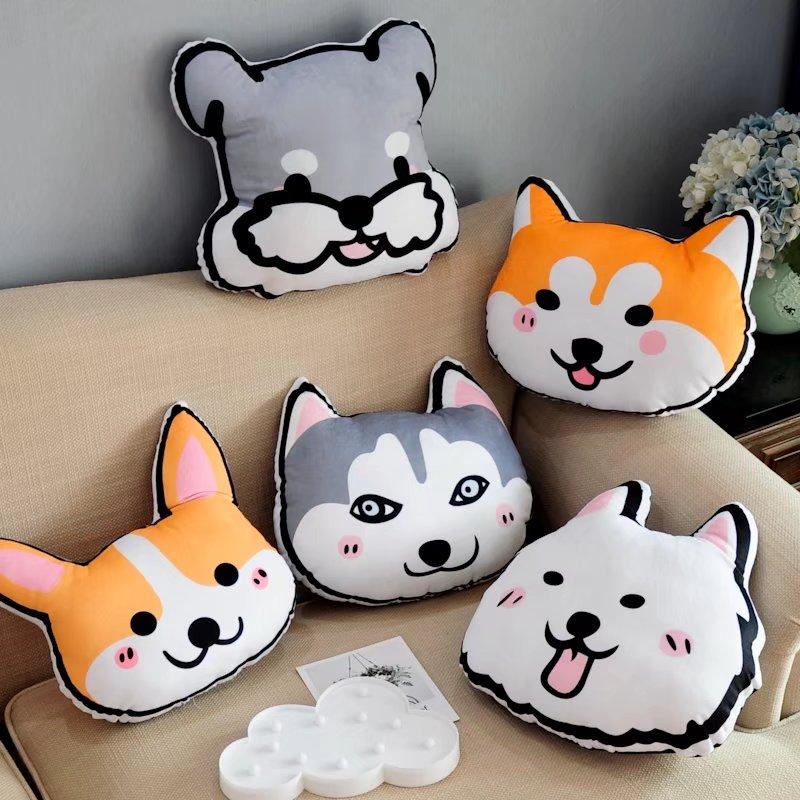 卡通可爱毛绒狗狗抱枕靠垫沙发办公室靠枕汽车用头枕拍摄道具礼物