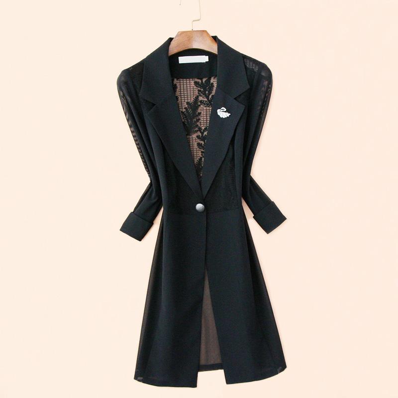 垂感黑色蕾丝小西装外套中长款薄款