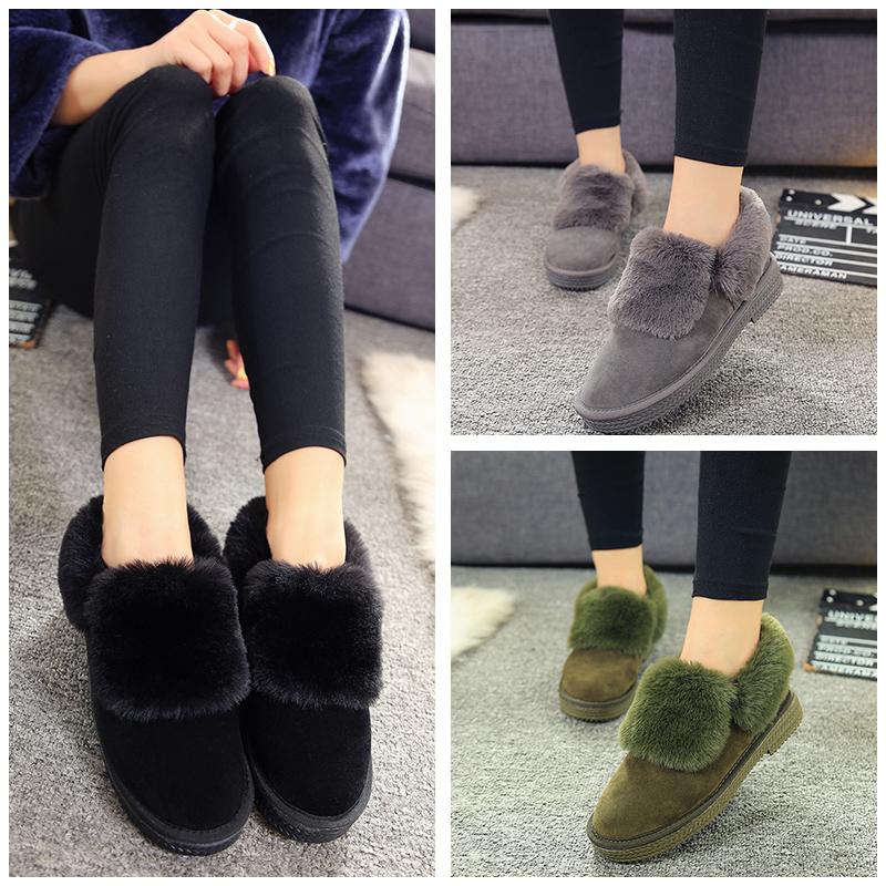 2016 зима новый корейской версии плоской меха Обувь женская обувь и обувь мягкой шерсти хлопка короткие сапоги низкой для ленивых людей густой снег сапоги