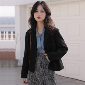 小个子薄款黑色短款西装外套女春秋韩版休闲英伦风西服2021年新款