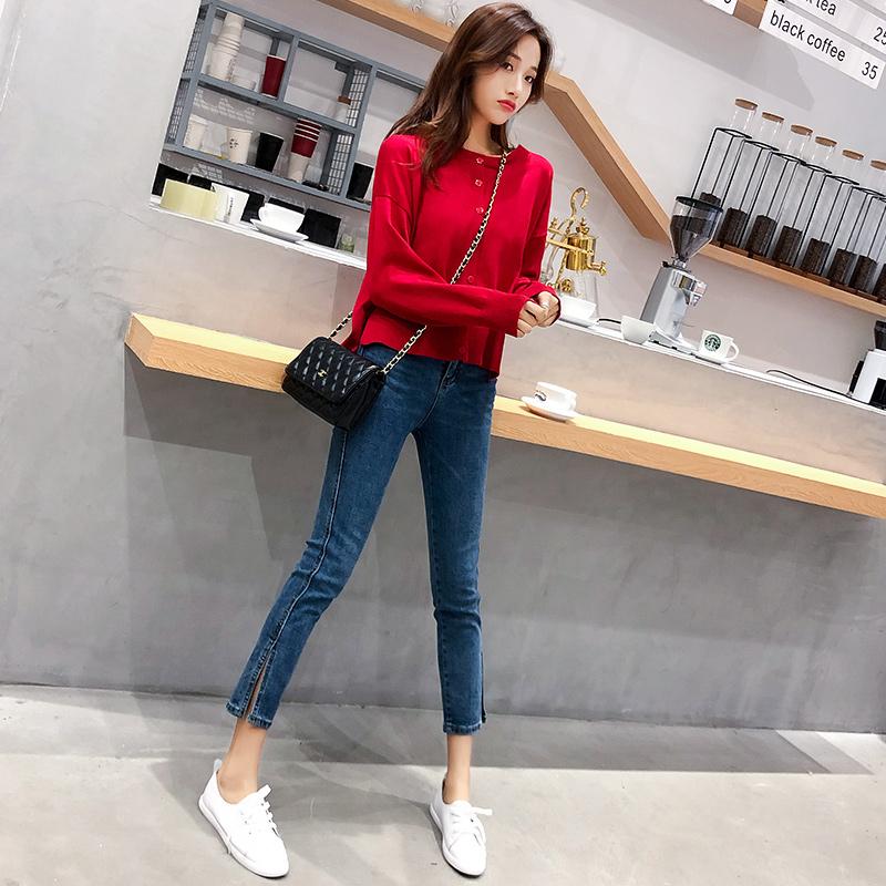 2019新款秋小个子气质显瘦时尚牛仔裤+上衣两件套网红洋气套装女