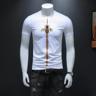 2019短袖T恤 男士小蜜蜂大码体恤上衣 白色货号66253款 P70
