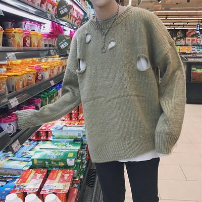 2017秋冬男士圆领套头宽松破洞针织衫毛衣外套 6602-P75
