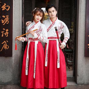 日常汉服女古风改良汉元 古装 学生班服中国风男套装 素交领齐腰长裙