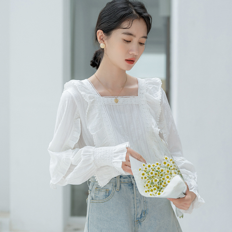 French sweet Square Neck Long Sleeve Shirt womens 2021 autumn gentle small fresh loose ruffled pullover shirt fashion