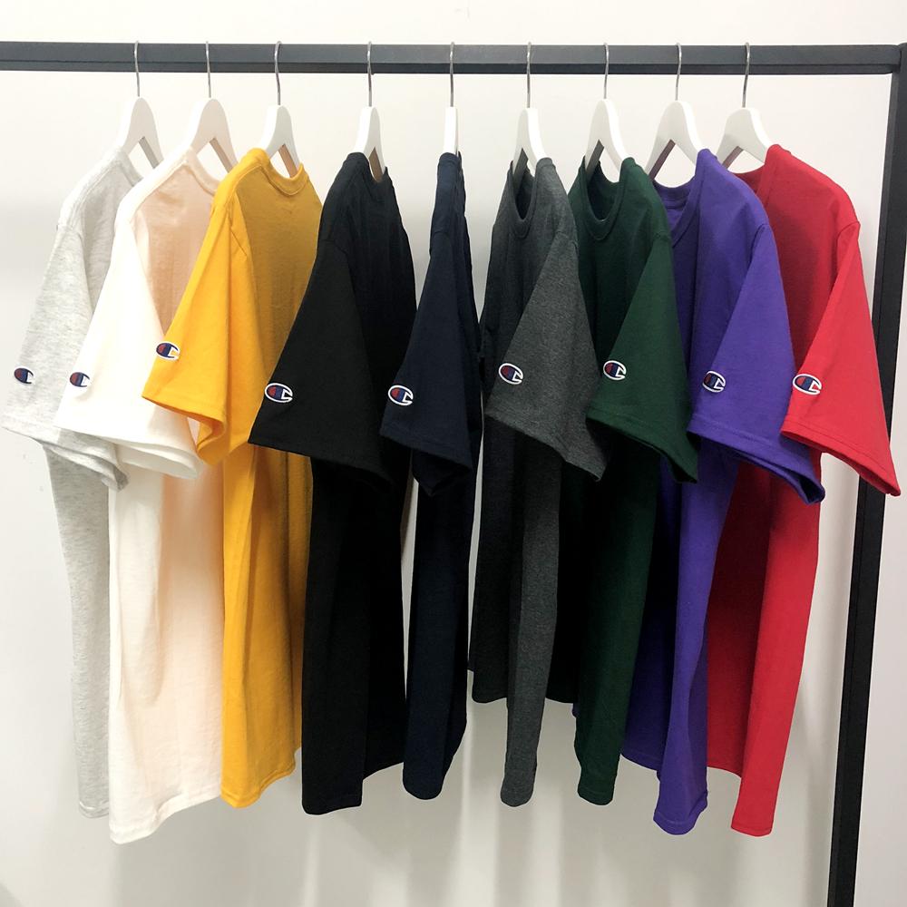 两件包邮  Champion 美版经典纯色刺绣袖标打底衫纯棉短袖T恤男限4000张券