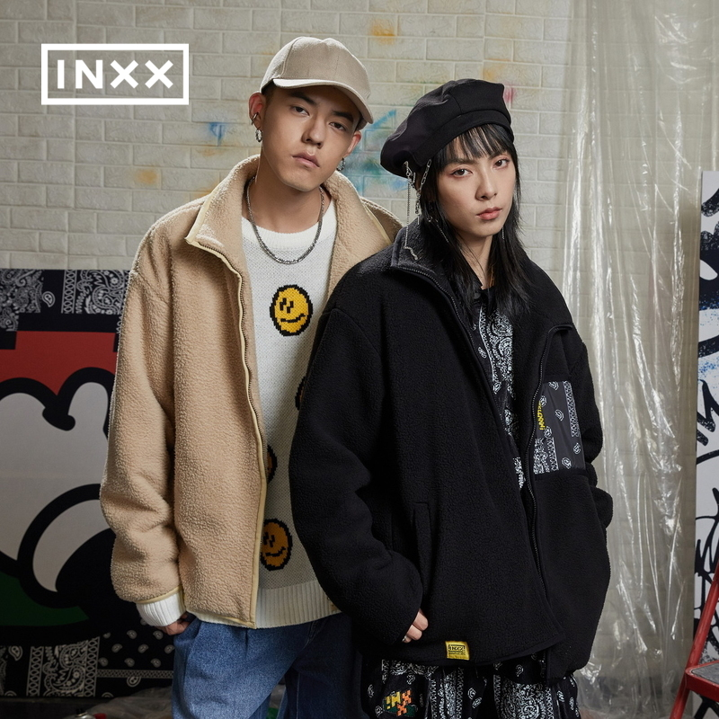 INXXGRAFFLEX joint tide brand winter new lovers fleece jacket short paragraph trend wild men and women