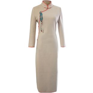 毛呢加厚保暖長袖旗袍冬季改良少女修身日常老上海中長款氣質旗袍