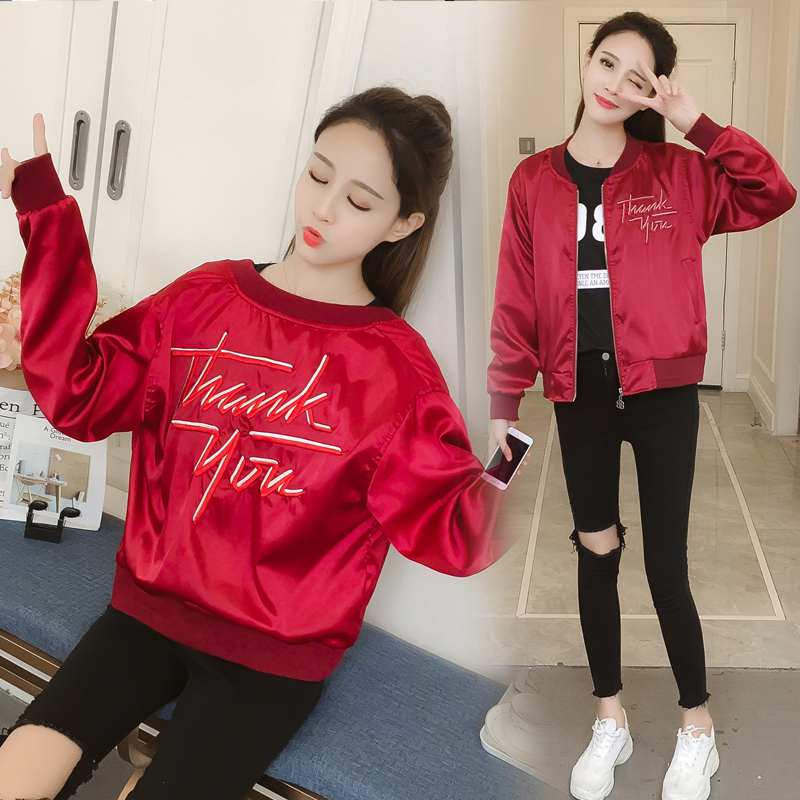 Take a large number of spot 2020 spring and autumn super soft satin new embroidery slim fitting Baseball Jacket jacket jacket video