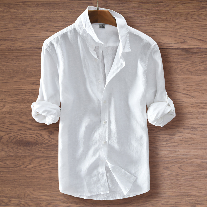 Chinese style shirt long sleeve spring and autumn beach thin casual roll sleeve sunscreen white mens Linen inch shirt