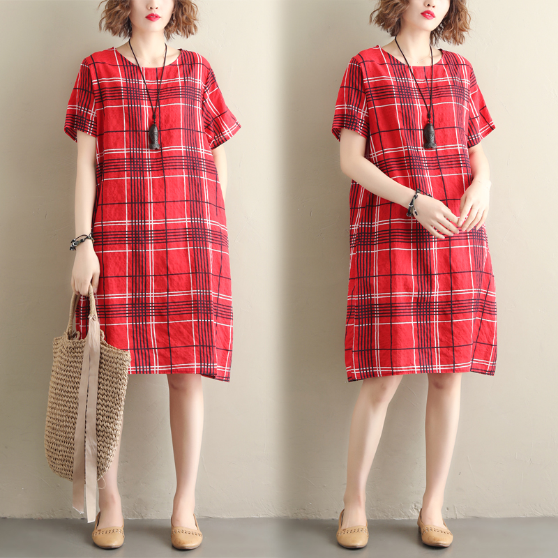 Real shooting summer new art RETRO large loose and thin Plaid Dress limited to 45