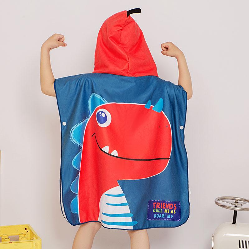 儿童浴巾斗篷带帽男童吸水速干游泳卡通浴袍女童宝宝旅行沙滩巾