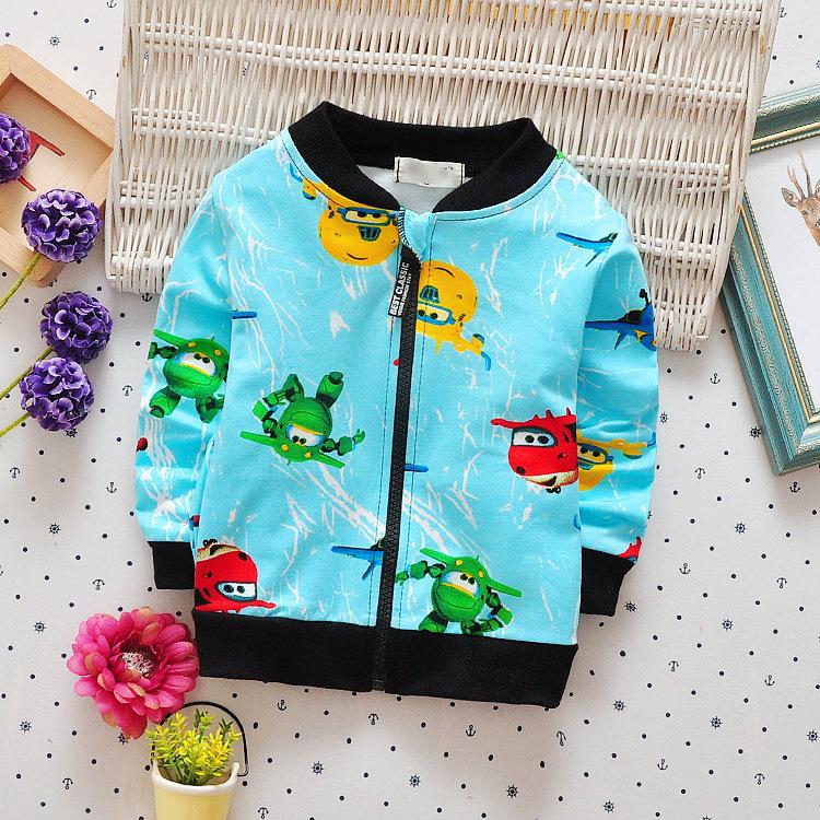 1111 super Feixia autumn winter new childrens wear Korean long sleeve top childrens cartoon airplane cardigan coat