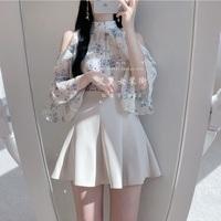 白色伞裙短裙2019法国小众复古仙女高腰蓬蓬裙百褶ins超火半身裙