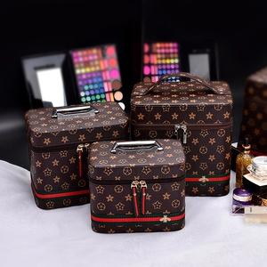 化妆包收纳包便携大容量化妆品收纳盒旅行简约双层小号手提化妆箱