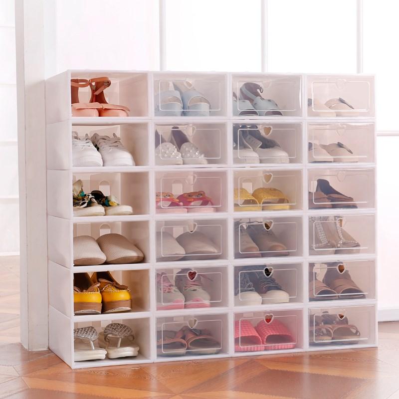 30.87元包邮6个塑料组合防尘10个简易装鞋盒收纳纸盒单个抽屉式20个透明宿舍