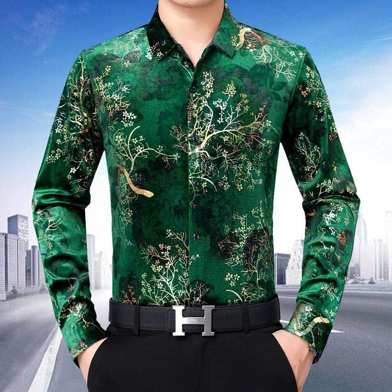 High grade middle-aged and old mens long sleeve shirt