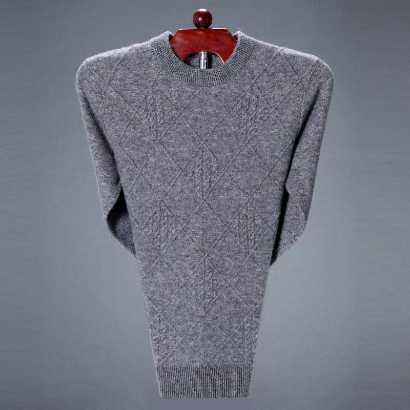 Winter dark grid plus fat 195 mens T-neck sweater camel color middle-aged and elderly dads pure cashmere sweater
