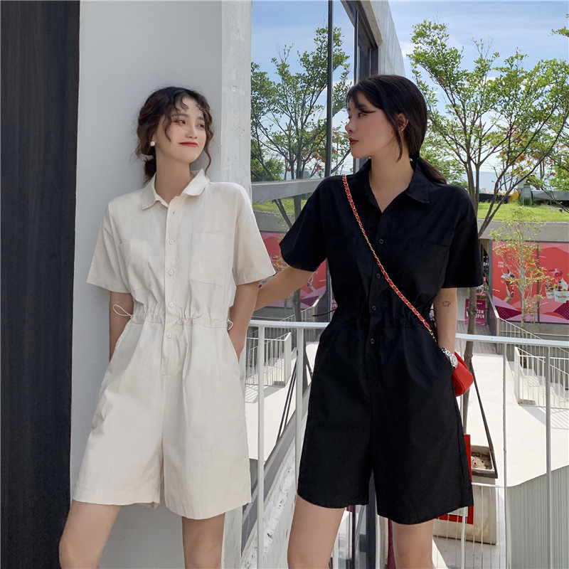 New Korean style loose and slim chic drawstring single breasted shirt work clothes Jumpsuit pants shorts womens wear