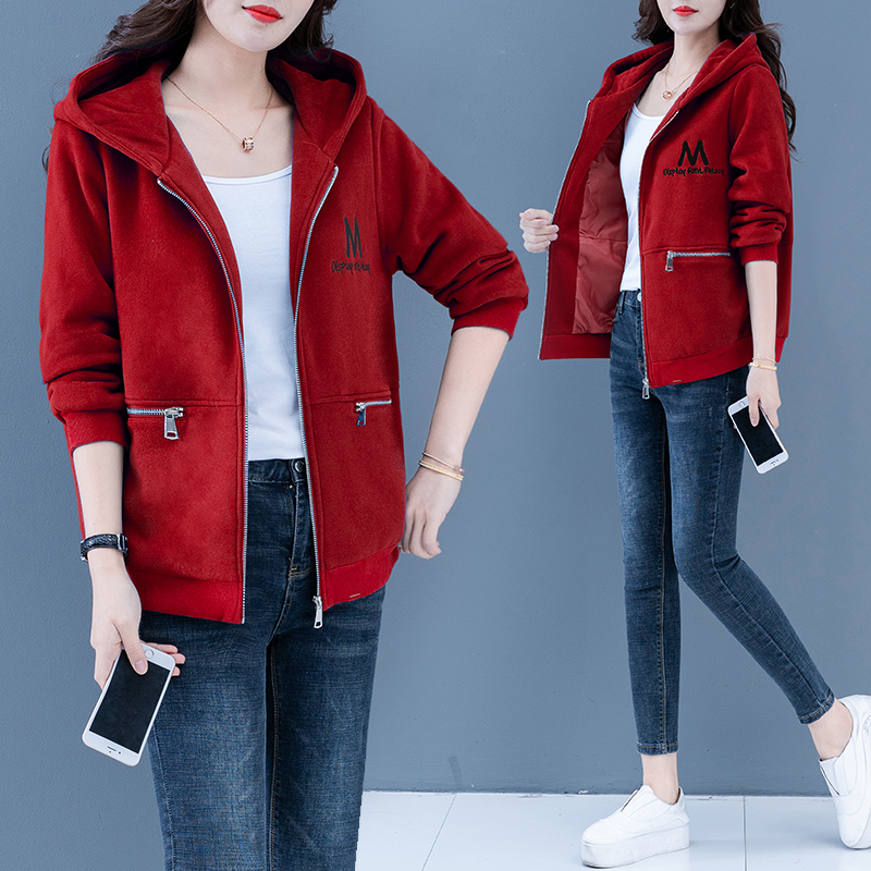 New Korean loose womens top zipper versatile short spring and autumn Hooded Coat