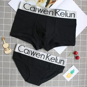 新款运动情侣内裤纯棉裆100%全棉套装中腰个性创意男士平角女三角