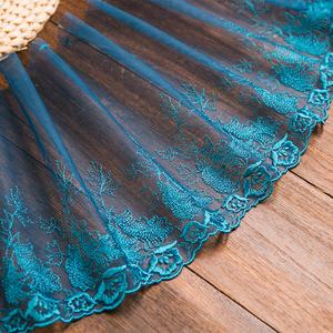 蓝色刺绣彩色网纱花边布料装饰居家布艺diy手工窗帘沙发垫宽15cm