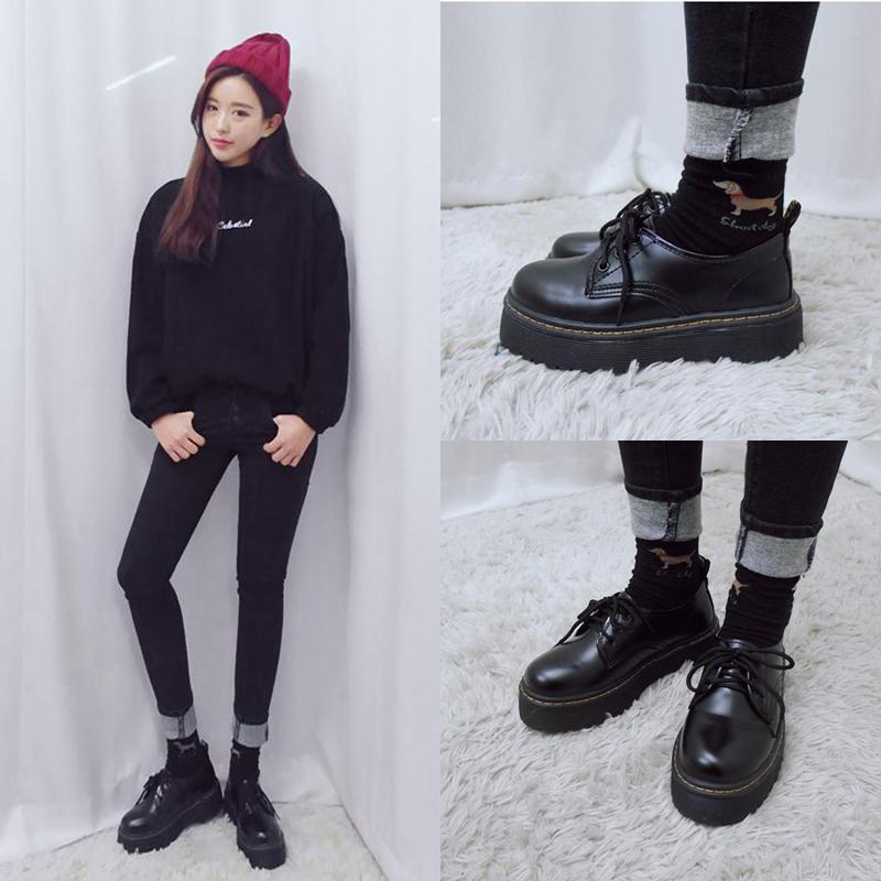 韩国Ulzzang复古皮鞋英伦系带学院风女鞋大头厚底牛津鞋松糕单鞋