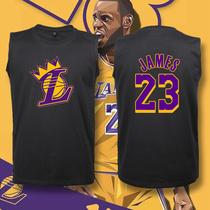 LBJ湖人23号勒布朗詹姆斯小皇帝纯棉篮球运动训练无袖T恤宽松背心