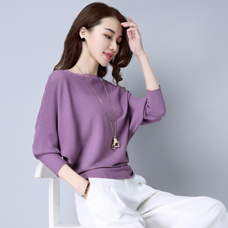 Plain collar ice silk knitted T-shirt Pullover Top bottoming shirt womens loose bat sleeve one shoulder short sweater
