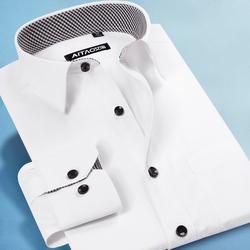 艾淘春夏季薄款男士白色衬衫长袖韩版修身商务职业工装工作服衬衣