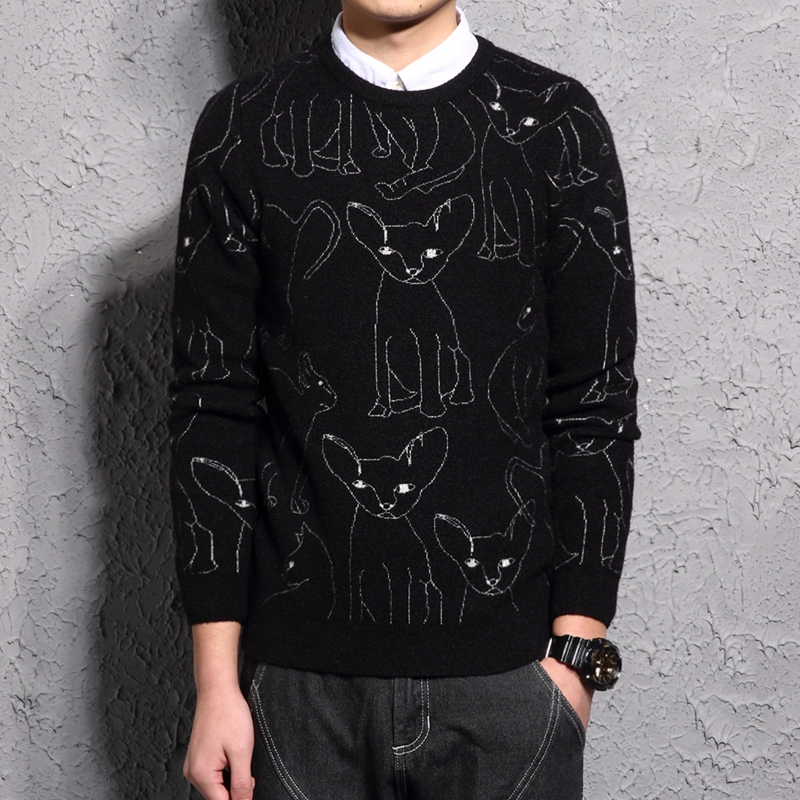 Autumn double faced nylon sweater mens round neck large sweater jacquard embroidery dog year mens casual sweater fashion