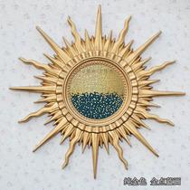 欧式玄关背景墙装饰画美式客厅太阳花壁挂油画中式餐厅轻奢壁挂画