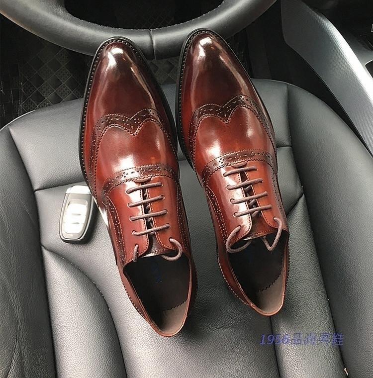 商务正装男士尖头皮鞋 英伦雕花牛皮单鞋 时尚真皮低帮男鞋子婚鞋