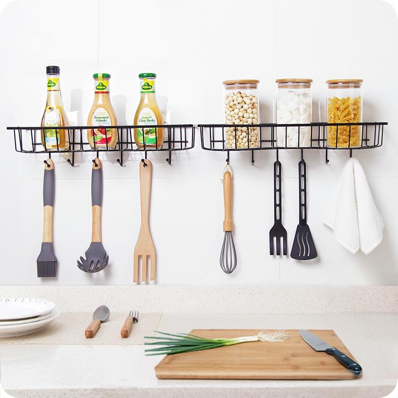 日式鐵藝收納架廚房壁掛式調料架免打孔整理置物籃浴室儲物架