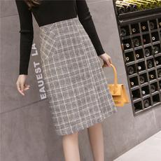 实拍 现货 冬季新款 毛呢料格子半身裙中长款chic口袋A字裙子