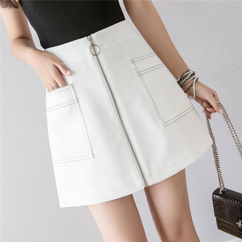 現貨實拍+簡約撞色線短裙女2021夏季新款韓版通勤顯瘦a字裙半身裙