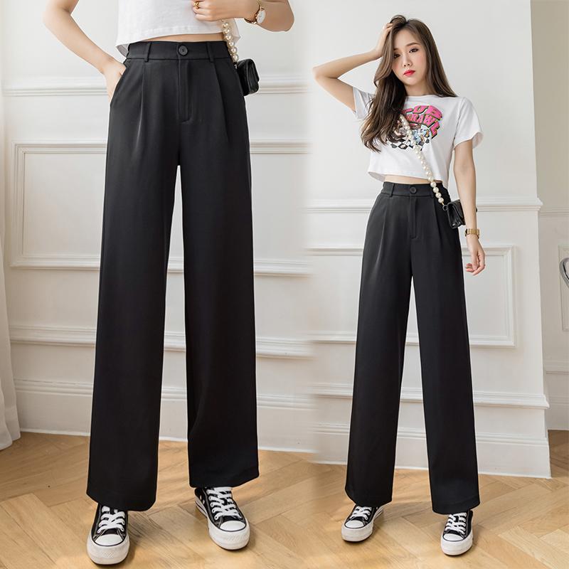 實拍現貨+視頻+垂感西裝褲直筒長褲女2021夏季新款高腰顯瘦闊腿褲