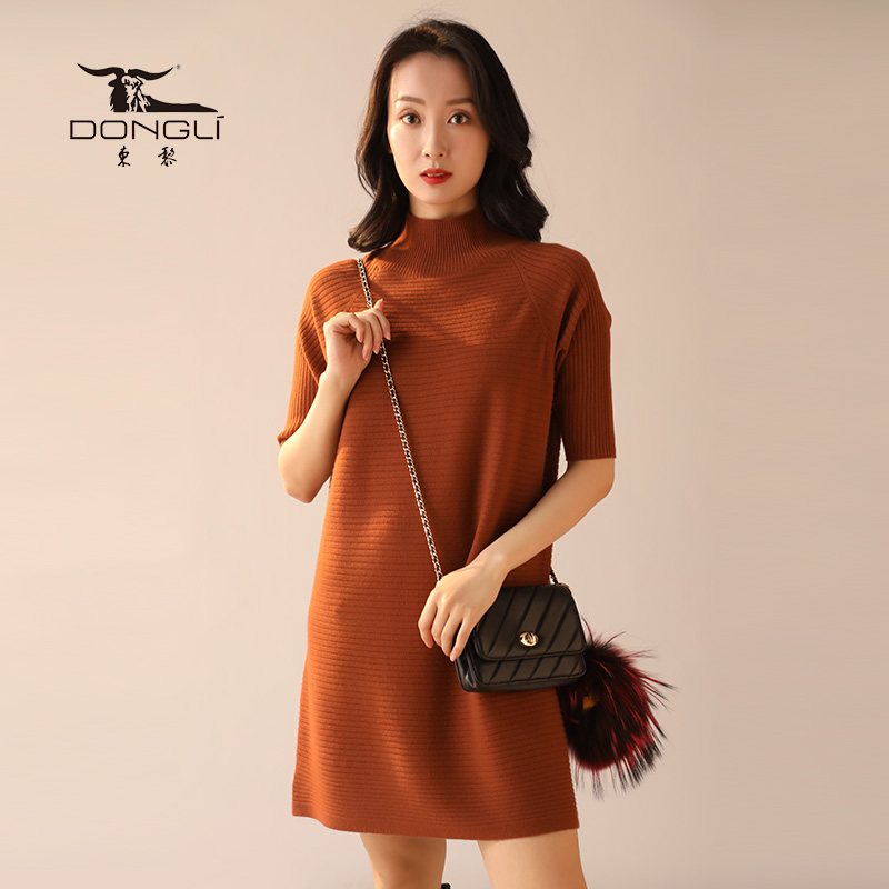 Dongli Dongli half high collar 5 / 6 sleeve base coat womens fashionable and foreign style long cashmere Pullover Sweater