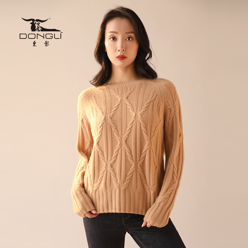 Dongli Dongli 2020 autumn and winter new cashmere high collar twisted cashmere sweater hollow out knitted sweater womens sweater