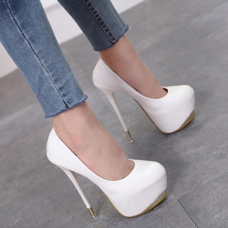 夏新款超高跟20cm细跟18cm单鞋性感夜店女鞋大码43恨天高16cm
